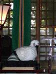 拝殿内のコウノトリ置物