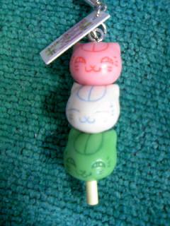 ニャンコ先生和菓子ストラップ「3色団子」3
