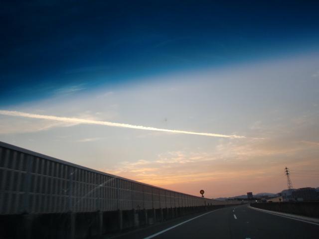 都市高速からの夕陽 007