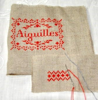 絹糸で刺繍