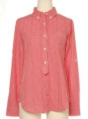 赤ギンガムシャツ