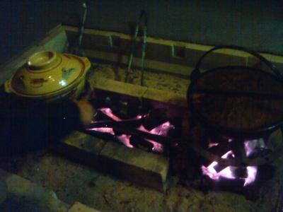 囲炉裏でお鍋