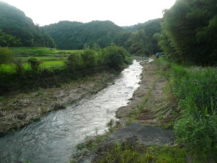 笠間川雨増水