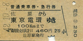 S42-10-18佐原急行乗車券