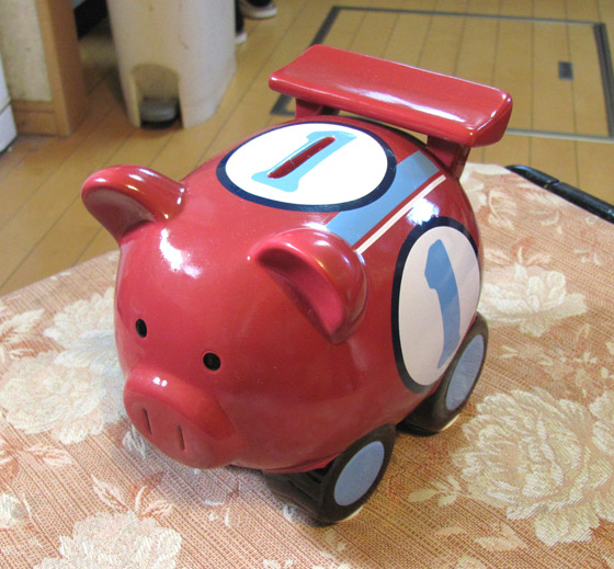 F1ブタさん貯金箱