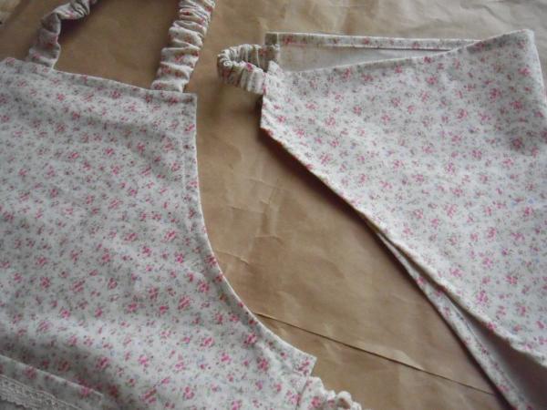 キッズエプロンと三角巾ピンク