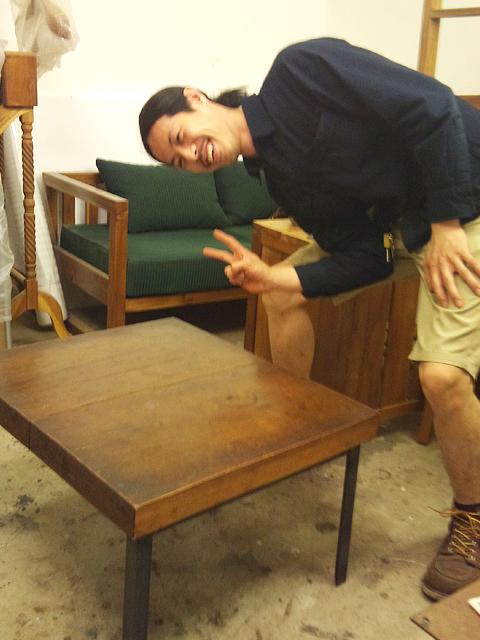 TAFU Furniture チーク 黒皮鉄 テーブル