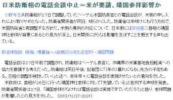 news日米防衛相の電話会談中止=米が要請、靖国参拝影響か