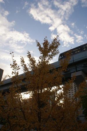 汐留駅近くを走るゆりかもめ