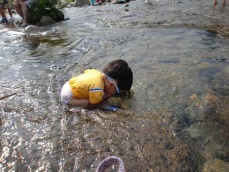 川で水に顔をつける次男
