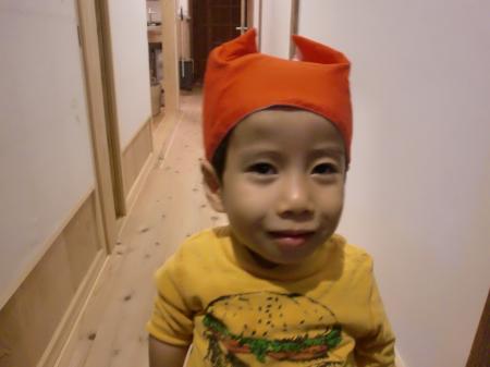 幼稚園の赤白帽