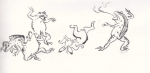ウサギとカエルの相撲(鳥獣人物戯画)