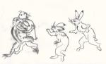 ウサギとカエルの相撲2(鳥獣人物戯画)