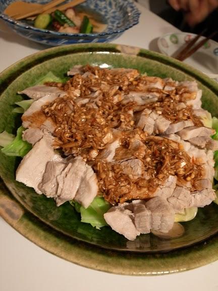 ゆで豚とキャベツの葱生姜ソース