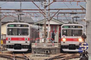 2012年1月4日 上田電鉄別所線 下之郷 1000系1001F・1004F