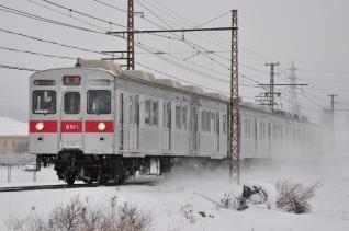 2012年1月28日 長野電鉄長野線 附属中学前~朝陽 8500系T1編成
