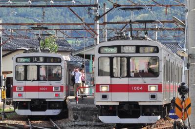 2012年5月5日 上田電鉄別所線 下之郷入換 1000系1001F・1004F