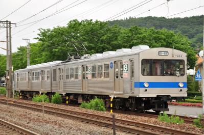 2012年6月14日 福島交通飯坂線 美術館図書館前~曾根田 7000系 7103-7204