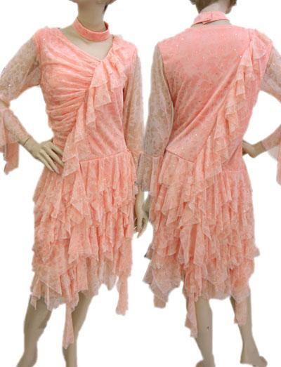 貼りスパン斜めフリルランダム裾ラテンドレス