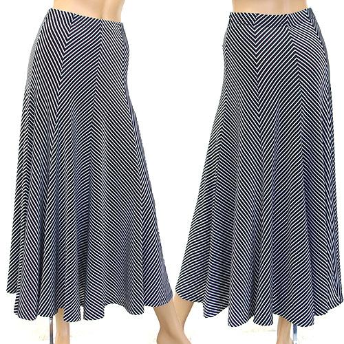 銀ラメ混ナナメストライプ生地スカート