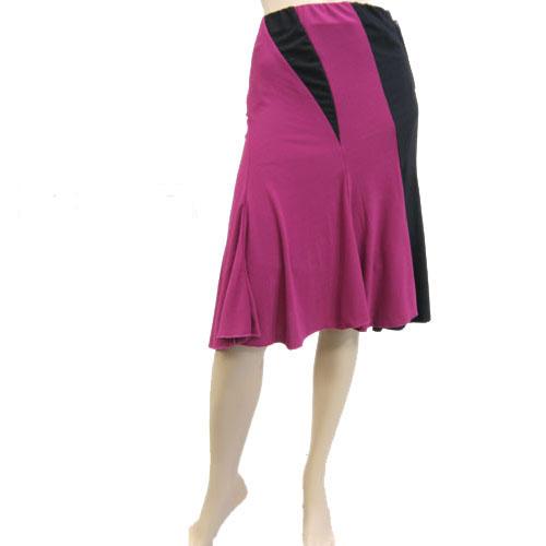カラー切り替え膝丈スカート