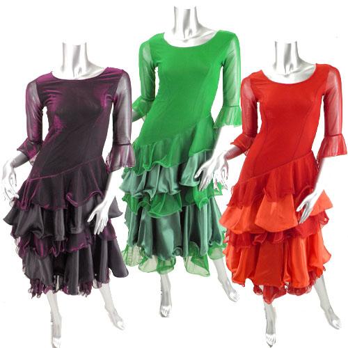 ラメメッシュとサテン重ねラッフル切り替え社交ドレス
