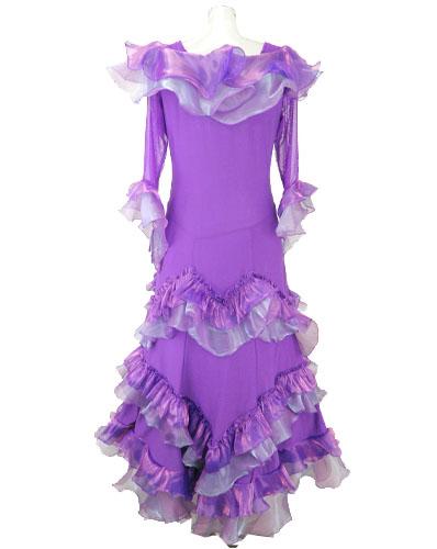 ランダムフリルオーガンジー社交ドレス
