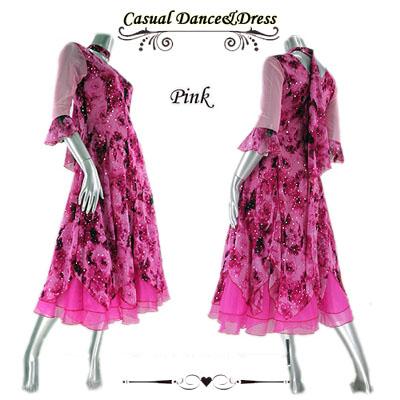 バラプリントオーガンジー裾ダンスワンピース