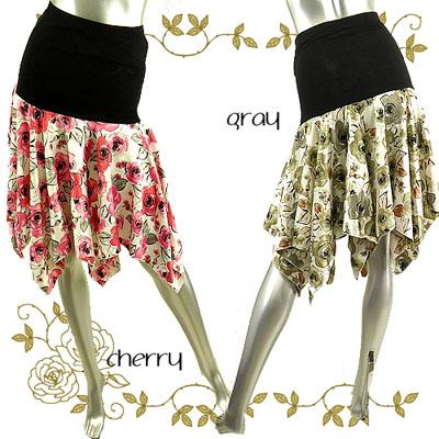 サテン薔薇切り替えしスカート