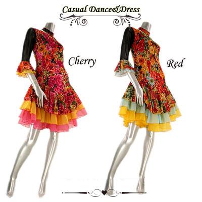 フラワープリント裾オーガンジーラテンドレス
