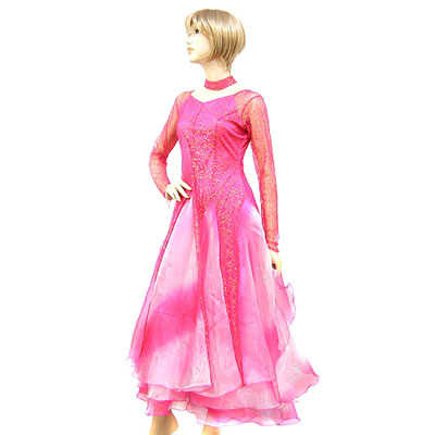 金糸刺繍グラデーションスカート本格モダンドレス