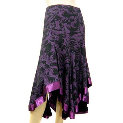 総柄裾ラウンドカットサテンテープスカート