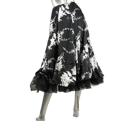 オーガンジーフリル&サテン花柄スカート