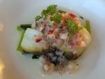 季節の魚のポアレ シードルヴィネガーのドレッシング
