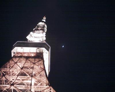 東京タワーと春の月:R2