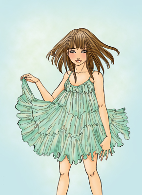 水色ドレス