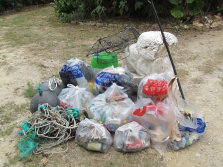 浜のゴミ集積