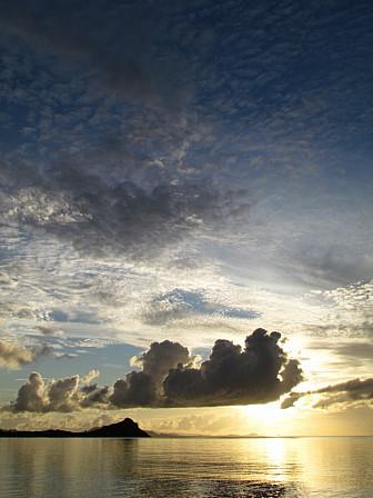雲隠れ夕陽縦