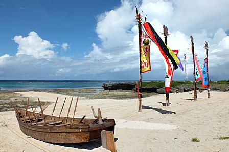 黒島開始前旗頭と船