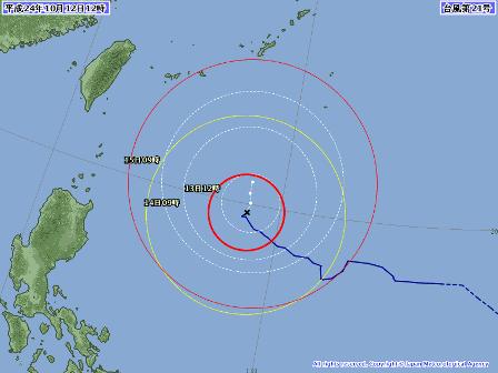 台風21号進路予想12日