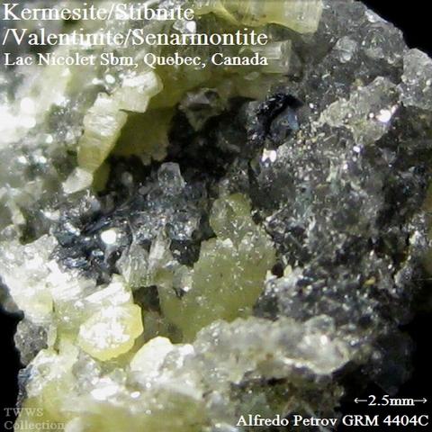 ペ4404C_紅安鉱&輝安鉱&バレンチン石&方安鉱