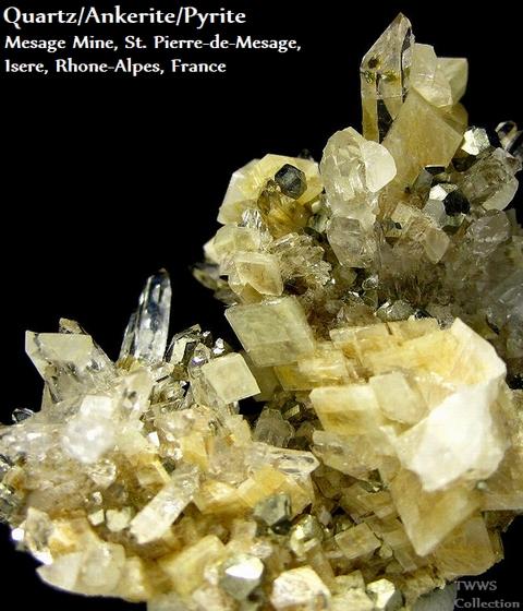 水晶&アンケル石&黄鉄鉱_フランス1