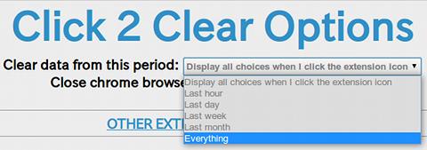 Click2Clear History Chrome拡張機能 履歴削除 オプション設定
