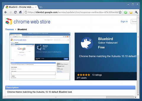 Bluebird Chromeテーマ