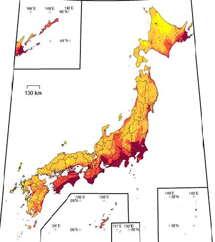 日本地震分布図