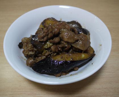 秋茄子と豚肉の生姜炒め