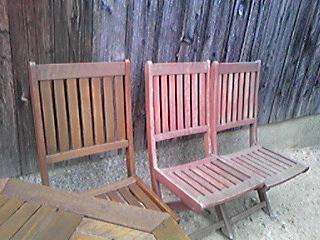 庭の椅子 手入れ中0905#12316;