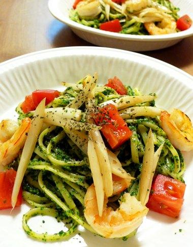 小松菜のソースのリングイネ