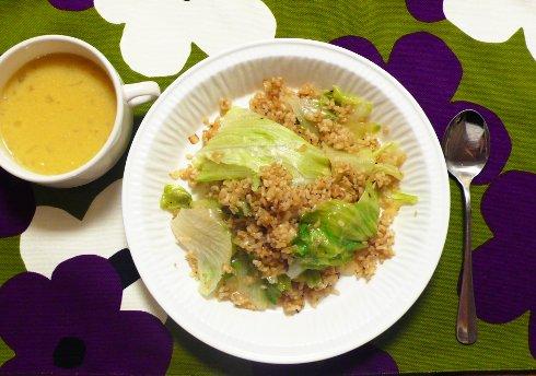 レタスと玄米のスパイシー炒飯&コーンスープ