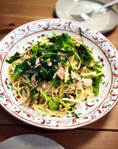 「リトル・フォレスト」塩マスとノビルと白菜の蕾菜のパスタ